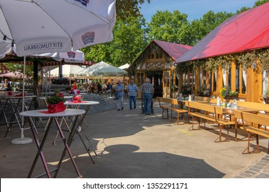 Nuremberg / GERMANY - September 17, 2018: Schutt island with food market and restaurants. Autumnal sunny day.