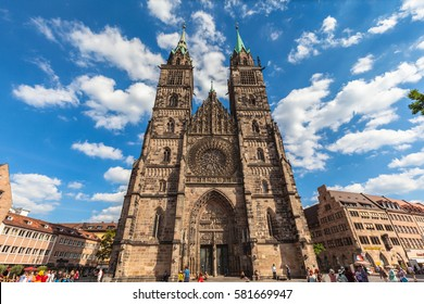 Nuremberg, Germany - September 2, 2016 - View of the St. Lawrence Church,a medieval church of the former free imperial city, in the old town of Nuremberg, Bavaria, Germany