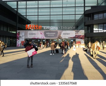 nuremberg, Germany-February 15: people walkin to Biofach exhibition 2019. the world of organic expo.