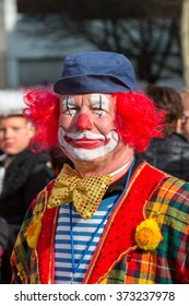 NUREMBERG, GERMANY-FEBRUARY 7, 2016: Carnival Parade in Nuremberg. Colorful masquerade goes through the streets, for the 618th time. In Nuremberg is the oldest Fasching in the world, dated 1397.