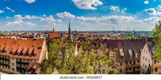 Nuremberg old town panorama cityscape, Bavaria Franconia, Germany Europe.