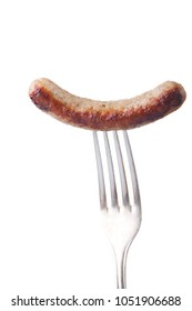nuremberger sausage on a silver fork