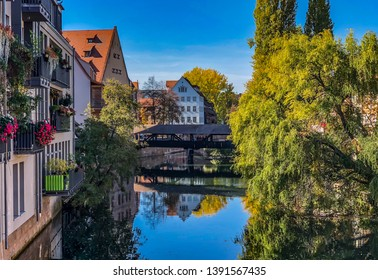 Nuremberg/Germany - October 12, 2018: An arm of the river Pegnitz in the old town of Nuremberg