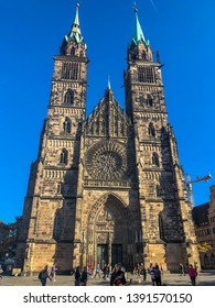 Nuremberg/Germany - October 12, 2018:  The Gothic Lorenzkirche (St. Laurence church) of Nuremberg is the most prominent churches of the Evangelical Lutheran Church in Bavaria.