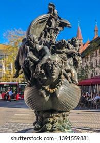 "Nuremberg/Germany - October 12, 2018: ""Ship of Fools"" is a sculpture based on Sebastian Brant's 1494 bestseller ""Das Narrenschiff"". Sculpture of Jürgen Weber based on the satire."