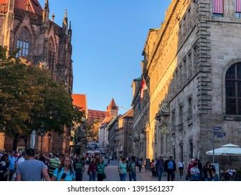 Nuremberg/Germany - October 12, 2018: urban life in Nuremberg. People in the city centre.