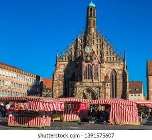 """Nuremberg/Germany - October 12, 2018:The Frauenkirche (""""Church of Our Lady""""). It is next to the main market of Nuremberg."""