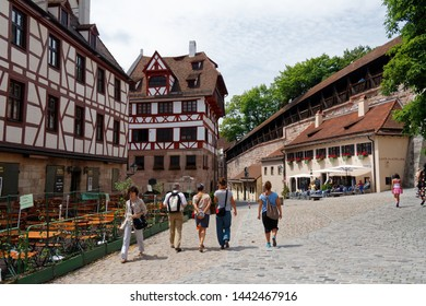 Nuremberg/Germany-24/6/2012: The city during Euro 2012 Football Cup. Completely rebuilt Old Town. Castle hull