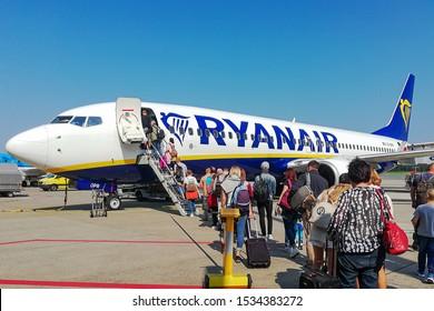Nuremberg,Germany-August 24,2019:Passengers board the RYANAIR Boeing 737.