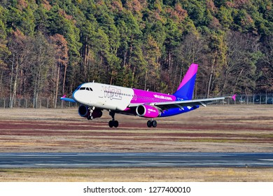 Nuremberg,Germany-January 03,2019:Wizz Air Airbus A320.W!zz Air, is a Hungarian low-cost airline with its head office in Budapest.