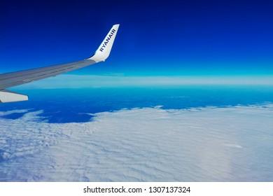 Nuremberg,Germany-November 06,2018:RYANAIR AIRLINES BOEING 737 flight.Ryanair Ltd. is an Irish low-cost airline in Dublin, Ireland.