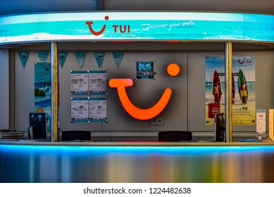 NUREMBERG,GERMANY-OCTOBER 29,2018: TUI travel agencies.Tui  is a multinational travel and tourism company headquartered in Hannover, Germany.