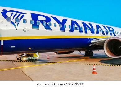 Nuremberg,Germany-October 30,2018:RYANAIR BOEING 737.Ryanair Ltd. is an Irish low-cost airline in Dublin, Ireland.