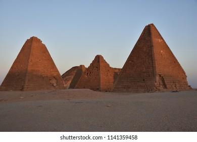 Nuri pyramids in desert in Napata Karima region , Sudan