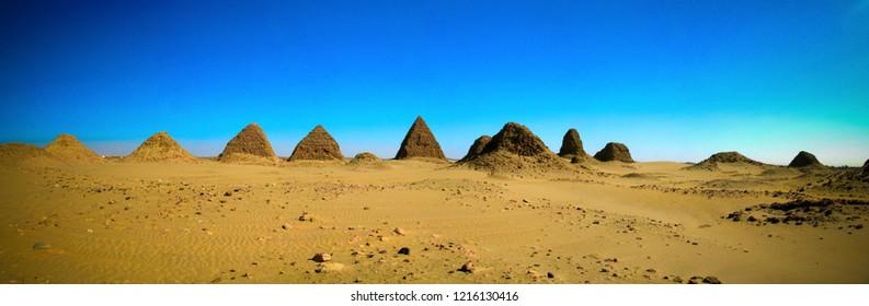 Nuri pyramids in desert in Napata at Karima region , Sudan
