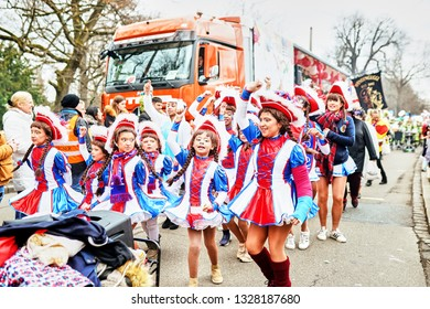 Nurmberg, GERMANY - March 3, 2019: German Fasching Carnival 2019. Сrowd of people at the parade