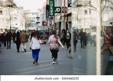 Nurnberg, Germany - April 5, 2018: People walking on the street in Old Town (Altstadt).