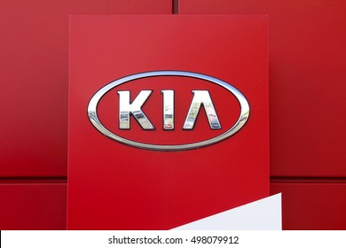 NURNBERG, GERMANY- AUGUST 28, 2016: Kia automobile dealership Sign. Kia is a South Korean manufacturer of automobiles and commercial vehicles.