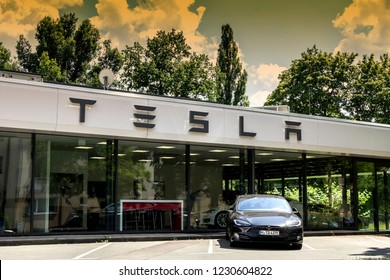 Nurnberg, Germany June 3, 2018: Tesla Motors service center with multiple luxury Tesla cars inside. Tesla is an American company that designs, manufactures, and sells electric cars