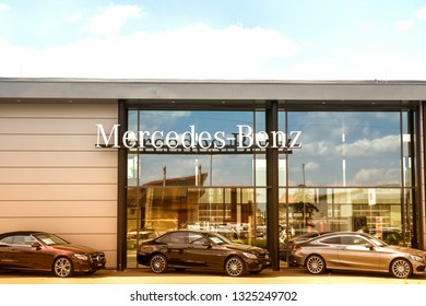 Nurnberg, Germany, June 3, 2018: Official dealer of Mercedes-Benz. Mercedes-Benz is a German luxury automobile manufacturer, cars in row