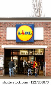 Nurnberg, Germany, March 11, 2018: LIDL supermarket and logo. Lidl is a German global discount supermarket chain, that operates over 10,000 stores across Europe.