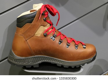 NURNBERG, GERMANY - MARCH 8: Alpine outdoor boots on display at IWA 2019 & Outdoor Classics exhibition