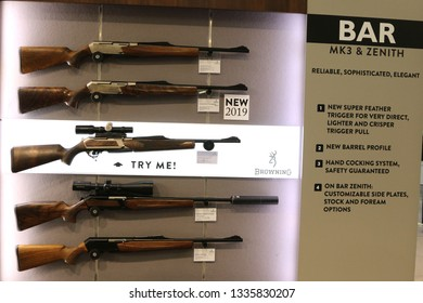 NURNBERG, GERMANY - MARCH 8: Browning Bar rifles on display at IWA 2019 & Outdoor Classics exhibition