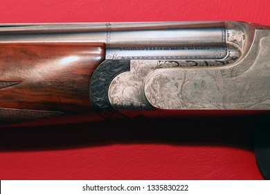 NURNBERG, GERMANY - MARCH 8: Browning engraved shotgun on display at IWA 2019 & Outdoor Classics exhibition