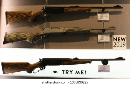 NURNBERG, GERMANY - MARCH 8: Browning BLR rifles on display at IWA 2019 & Outdoor Classics exhibition