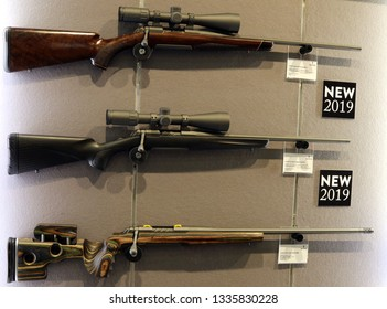 NURNBERG, GERMANY - MARCH 8: Browning X-bolt rifles on display at IWA 2019 & Outdoor Classics exhibition