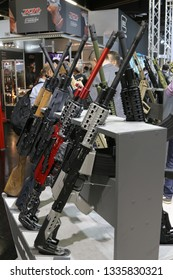NURNBERG, GERMANY - MARCH 8: Citadel Rs-S1 AK-style tactical/sport shotguns on display at IWA 2019 & Outdoor Classics exhibition