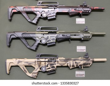 NURNBERG, GERMANY - MARCH 8: Dickinson Komandoav tactical shotguns on display at IWA 2019 & Outdoor Classics exhibition