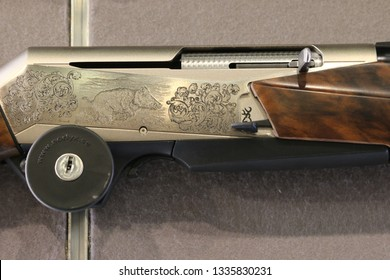 NURNBERG, GERMANY - MARCH 8: Engraved browning shotgun on display at IWA 2019 & Outdoor Classics exhibition