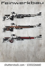 NURNBERG, GERMANY - MARCH 8: Feinwerkbau Model 800 air rifles on display at IWA 2019 & Outdoor Classics exhibition
