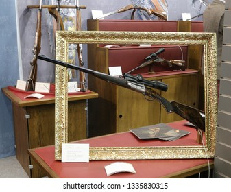 NURNBERG, GERMANY - MARCH 8: Karl Hauptmann hunting rifle on display at IWA 2019 & Outdoor Classics exhibition
