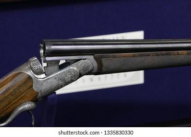 NURNBERG, GERMANY - MARCH 8: Karl Hauptmann hunting shotgun on display at IWA 2019 & Outdoor Classics exhibition