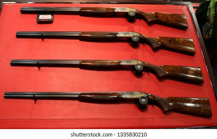 NURNBERG, GERMANY - MARCH 8: Perazzi engraved shotguns set on display at IWA 2019 & Outdoor Classics exhibition