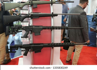 NURNBERG, GERMANY - MARCH 8: Ruger rifles on display at IWA 2019 & Outdoor Classics exhibition