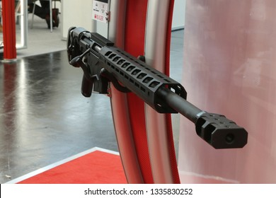 NURNBERG, GERMANY - MARCH 8: Ruger precision bolt action rifle on display at IWA 2019 & Outdoor Classics exhibition