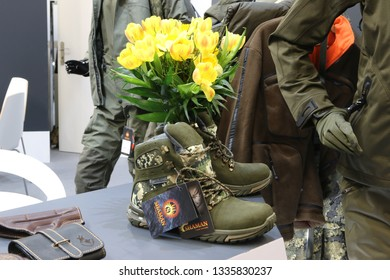 NURNBERG, GERMANY - MARCH 8: Shaman outdoor boots on display at IWA 2019 & Outdoor Classics exhibition