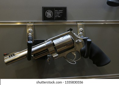NURNBERG, GERMANY - MARCH 8: Smith&Wesson S&W 500 revolver on display at IWA 2019 & Outdoor Classics exhibition