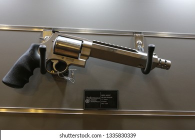 NURNBERG, GERMANY - MARCH 8: Smith&Wesson 460 XVR revolver on display at IWA 2019 & Outdoor Classics exhibition
