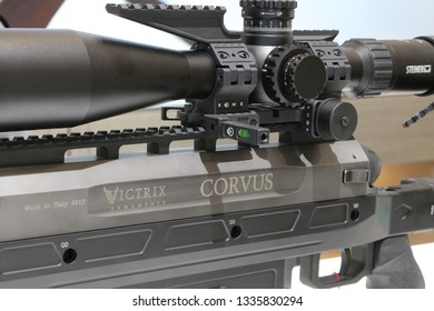NURNBERG, GERMANY - MARCH 8: Victrix Corvus Rifle on display at IWA 2019 & Outdoor Classics exhibition