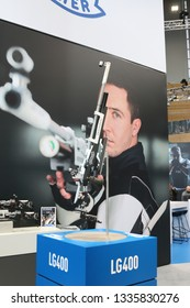NURNBERG, GERMANY - MARCH 8: Walther LG400 air rifle on display at IWA 2019 & Outdoor Classics exhibition