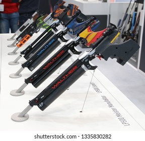 NURNBERG, GERMANY - MARCH 8: Walther LP500 air pistols on display at IWA 2019 & Outdoor Classics exhibition