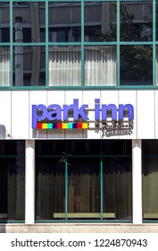 Nurnberg, Germany, May 21, 2018: Signboard of the hotel Park Inn by Radisson in Nuremberg. The hotels chain held to international corporation Carlson Companies.