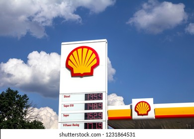 Nurnberg, Germany, May 21, 2018: Shell sign against blue sky. Shell is an Anglo-Dutch multinational oil and gas company headquartered in the Netherlands and incorporated in the United Kingdom.