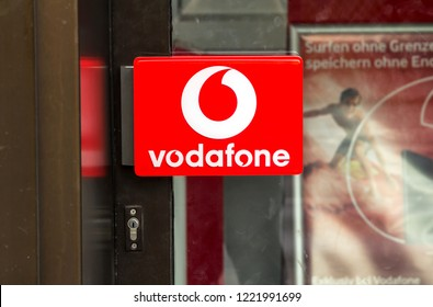 NURNBERG, GERMANY - MAY 31, 2018: Logo of Vodafone on door handle of vodafone store  - Vodafone is a British multinational telecommunications company