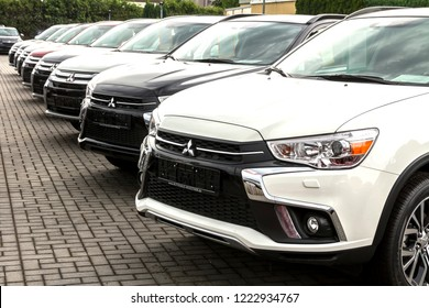 Nurnberg, Germany May 31, 2018: A row of Mitsubishi cars. Mitsubishi Dealer center