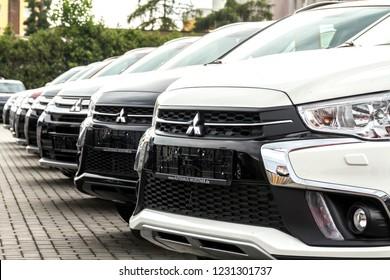 Nurnberg, Germany May 31, 2018: A row of Mitsubishi cars. Mitsubishi Dealer center